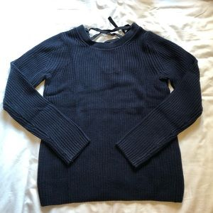 Banana Republic navy sweater with lace up detail